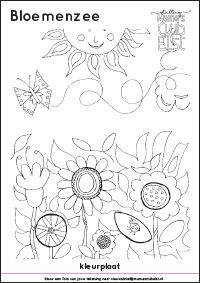 Kleurplaat: bloemenzee